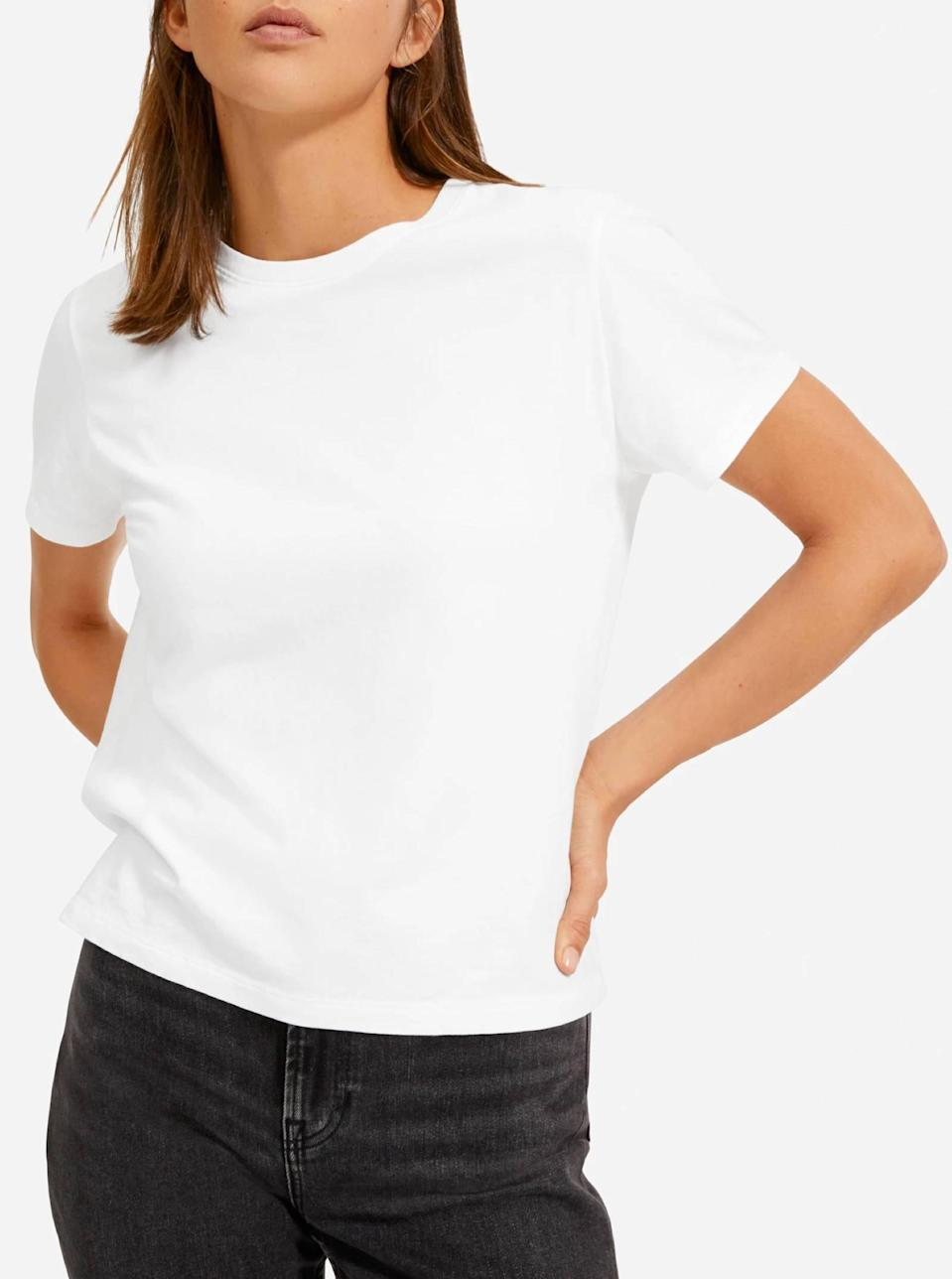 """$18, Everlane. <a href=""""https://www.everlane.com/products/womens-organic-cotton-box-cut-tee-white"""" rel=""""nofollow noopener"""" target=""""_blank"""" data-ylk=""""slk:Get it now!"""" class=""""link rapid-noclick-resp"""">Get it now!</a>"""