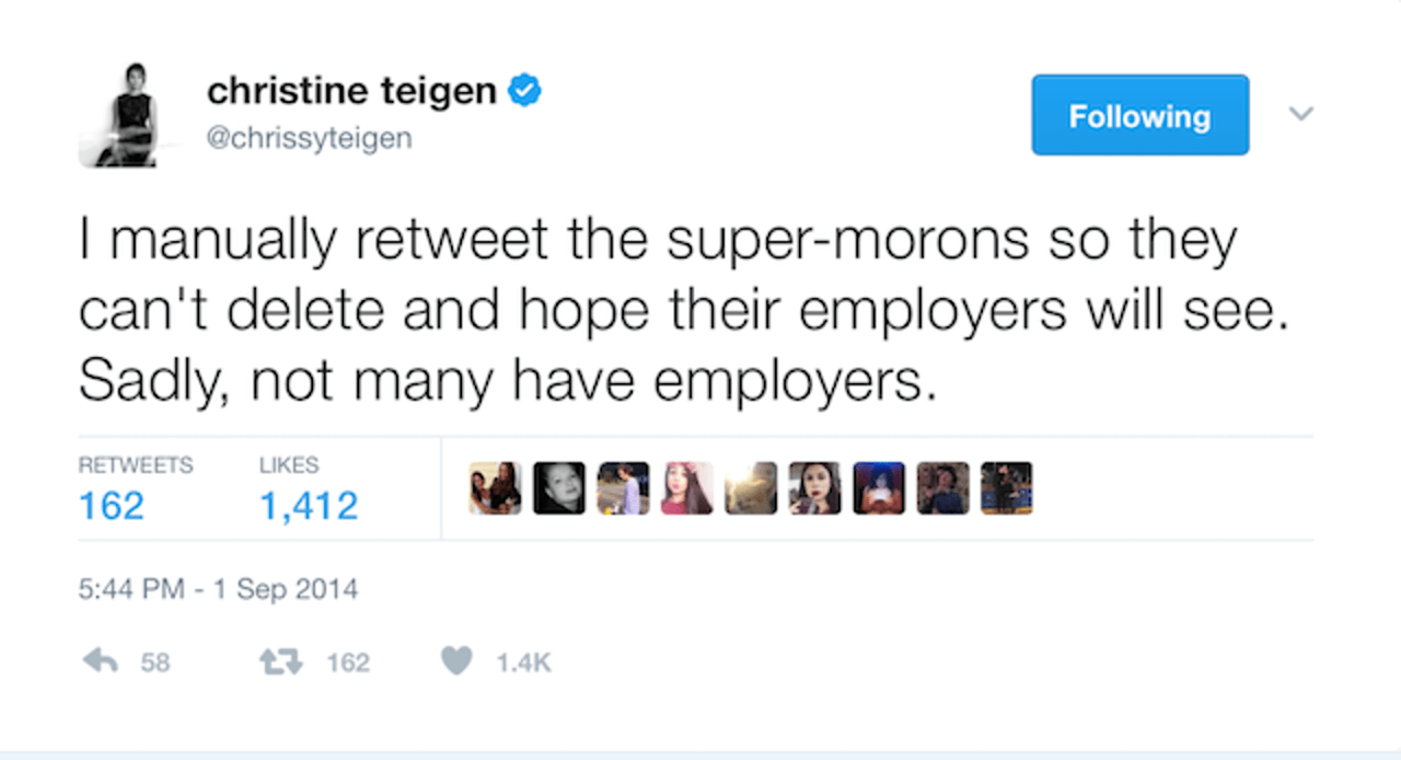 Don't say Teigen didn't warn you before she claps back.