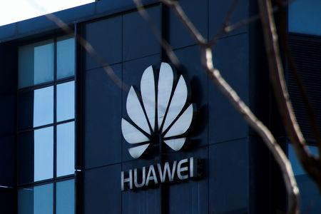 The company logo is seen at the office of Huawei in Beijing, December 6, 2018.  REUTERS/Thomas Peter