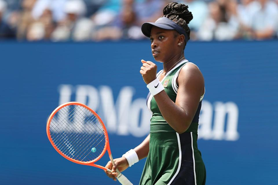 NEW YORK, NEW YORK - AUGUST 30: Sloane Stephens of the United States celebrate after defeating Madison Keys of the United States during their woman's singles first round match on Day One of the 2021 US Open at the Billie Jean King National Tennis Center on August 30, 2021 in the Flushing neighborhood of the Queens borough of New York City. (Photo by Elsa/Getty Images)
