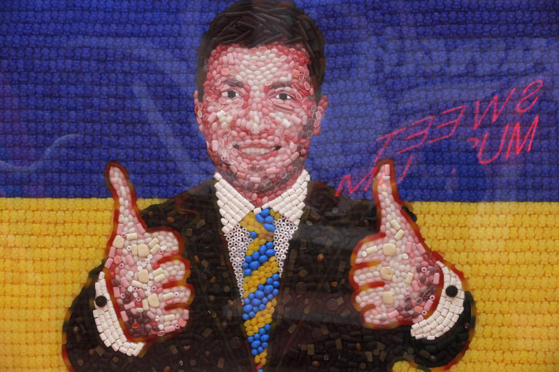 A portrait of Ukrainian presidential candidate and popular comedian Volodymyr Zelenskiy made of candies is displayed at the Sweet Museum in St.Petersburg, Russia, Friday, April 19, 2019. The second round of the presidential vote in Ukraine will take place on April 21. (AP Photo/Dmitri Lovetsky)