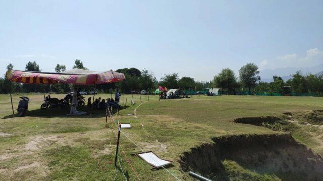 People put up tents on the site during the cricket league