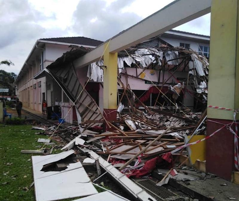 The collapsed canteen roof of SK Siol Kandis Kanan in Kuching October 18, 2019. — Picture courtesy of the state Fire and Rescue Dept