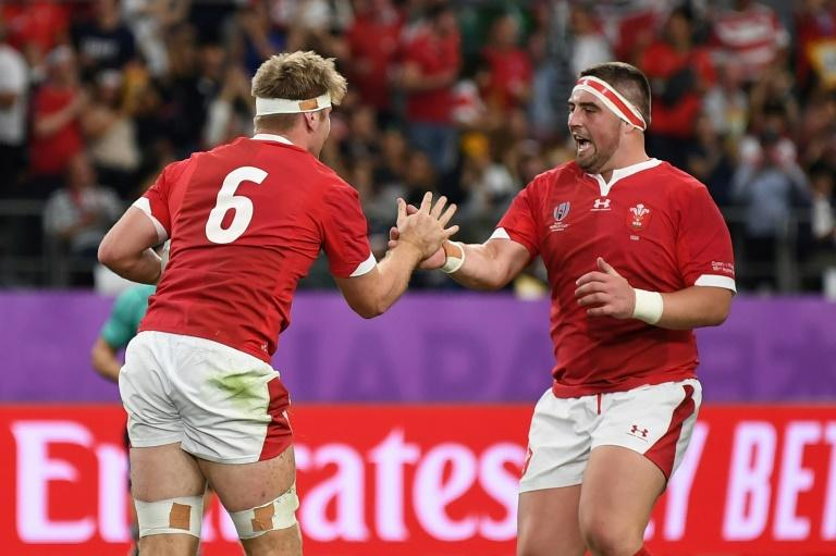 Flanker Aaron Wainwright (L) scored a try in the first half for Wales