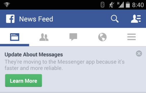 Facebook page displaying an update about Messages