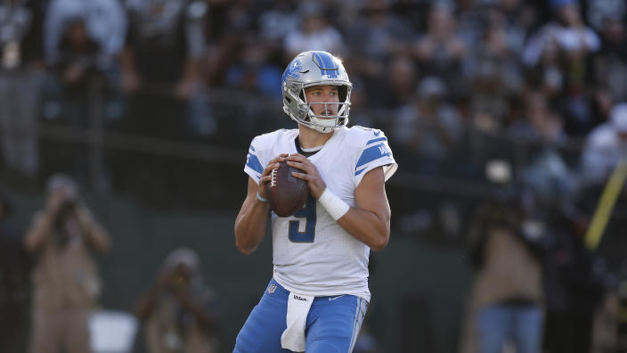 Detroit Lions quarterback Matthew Stafford (9) against the Oakland Raiders during an NFL football game in Oakland, Calif., Sunday, Nov. 3, 2019. (AP Photo/D. Ross Cameron)