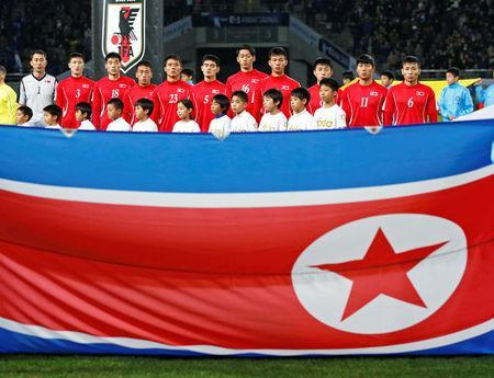 Soccer Football - East Asian Football Championship - North Korea v Japan - Ajinomoto Stadium, Tokyo, Japan - December 9, 2017. North Korean soccer team poses before the match. REUTERS/Toru Hanai