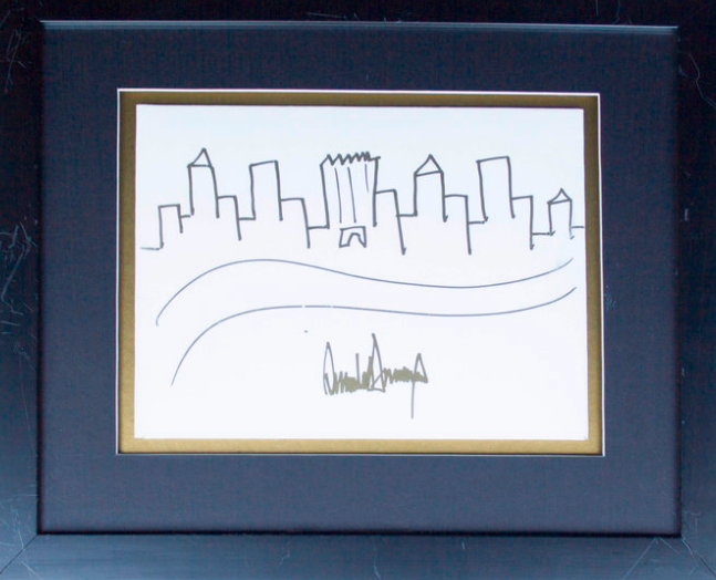 Drawing by Donald Trump which sold for nearly $30,000. (Nate D. Sanders)