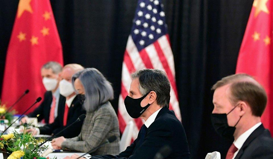 Some social media users criticised the US translator (sitting to the left of Secretary of State Antony Blinken) over her hair colour, but an international relations expert said these complaints were groundless. Photo: AFP