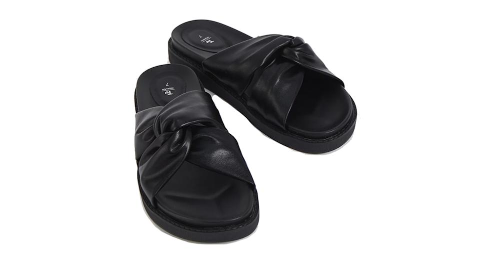 Black Crossover Wedge Sliders