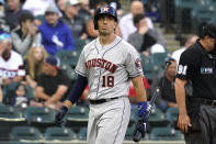 Houston Astros' Jason Castro looks up after striking out swinging during the third inning of the team's baseball game against the Chicago White Sox in Chicago, Saturday, July 17, 2021. (AP Photo/Nam Y. Huh)