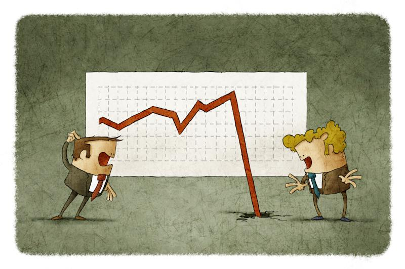 Cartoon characters appear puzzled by stock chart with arrow falling through the floor.