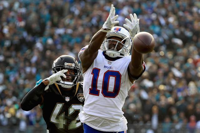 <p>Wide receiver Deonte Thompson #10 of the Buffalo Bills misses a fourth quarter pass as strong safety Barry Church #42 of the Jacksonville Jaguars defends in the fourth quarter during the AFC Wild Card Playoff game at EverBank Field on January 7, 2018 in Jacksonville, Florida. (Photo by Mike Ehrmann/Getty Images) </p>