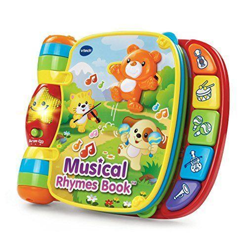 """<p><strong>VTech</strong></p><p>amazon.com</p><p><strong>$14.95</strong></p><p><a href=""""https://www.amazon.com/dp/B07H93M5X8?tag=syn-yahoo-20&ascsubtag=%5Bartid%7C10055.g.5152%5Bsrc%7Cyahoo-us"""" rel=""""nofollow noopener"""" target=""""_blank"""" data-ylk=""""slk:Shop Now"""" class=""""link rapid-noclick-resp"""">Shop Now</a></p><p>There are <strong>six different nursery rhymes</strong> in this book to page through — and many different ways to experience them. The book plays music and sings songs, while the buttons on the side teach little ones about colors and instruments. <em>Ages 6 months+</em></p>"""