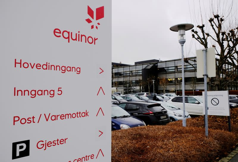FILE PHOTO: Equinor's logo is seen next to the company's headquarters in Stavanger
