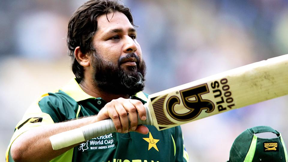 Pakistan cricket great Inzamam-ul-Haq is recovering in hospital after reportedly suffering a cardiac arrest this week. (Photo credit should read JEWEL SAMAD/AFP via Getty Images)