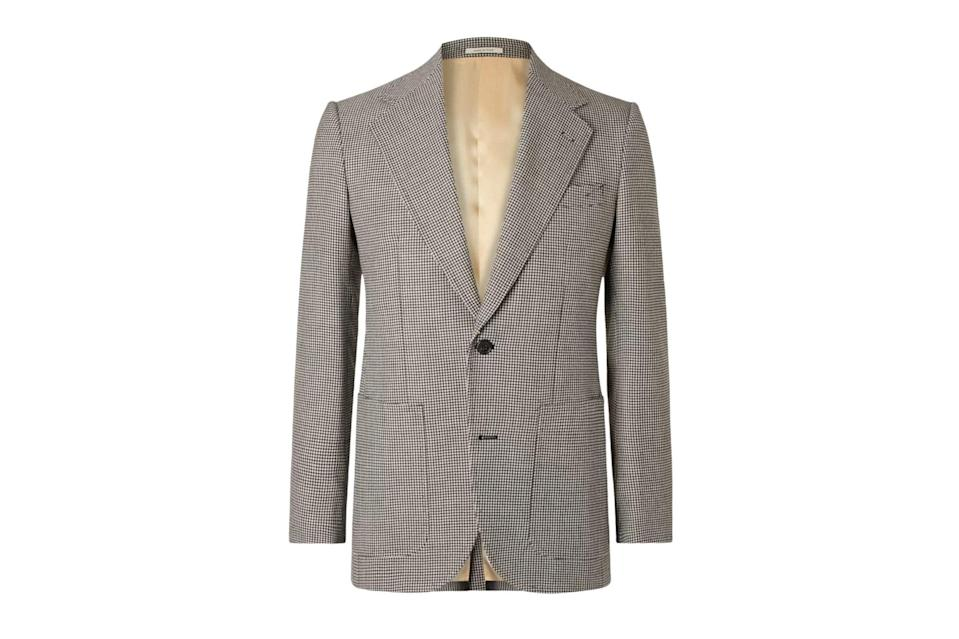 """Wearing a blazer is a statement in itself during our sweatpant-heavy times, and this one strikes all the right notes with its tasteful black-and-white houndstooth.<br> <br> <em>Husbands """"Jarvis"""" slim-fit houndstooth wool blazer</em> $1245, Mr Porter. <a href=""""https://www.mrporter.com/en-us/mens/product/husbands/clothing/single-breasted-blazers/jarvis-slim-fit-houndstooth-wool-blazer/46353151655055015"""" rel=""""nofollow noopener"""" target=""""_blank"""" data-ylk=""""slk:Get it now!"""" class=""""link rapid-noclick-resp"""">Get it now!</a>"""