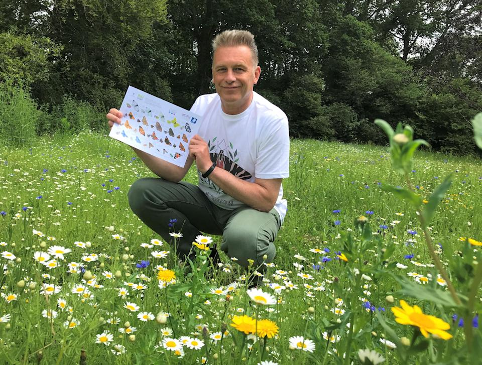 Chris Packham with a Big Butterfly Count ID guide