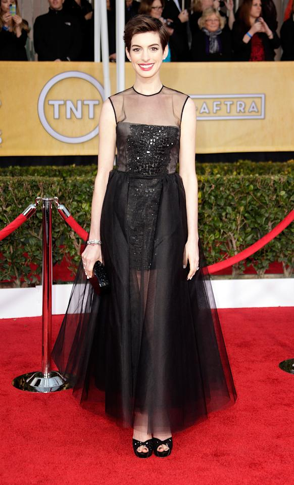 Anne Hathaway arrives at the 19th Annual Screen Actors Guild Awards at the Shrine Auditorium in Los Angeles, CA on January 27, 2013.