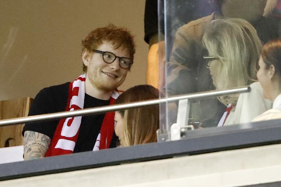 MELBOURNE, AUSTRALIA - MARCH 27: Ed Sheeran attends the 2021 AFL Round 02 match between the St Kilda Saints and the Melbourne Demons at Marvel Stadium on March 27, 2021 in Melbourne, Australia. (Photo by Dylan Burns/AFL Photos via Getty Images)