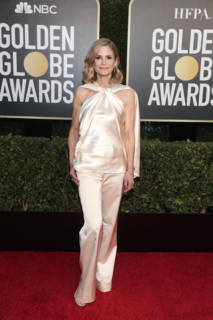 Kyra Sedgwick arrives at the 78th annual Golden Globe Awards.