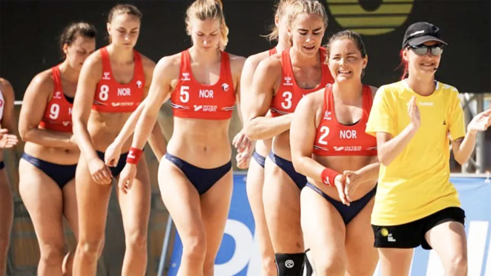 Norway's beach handball team, pictured here at the European championships.