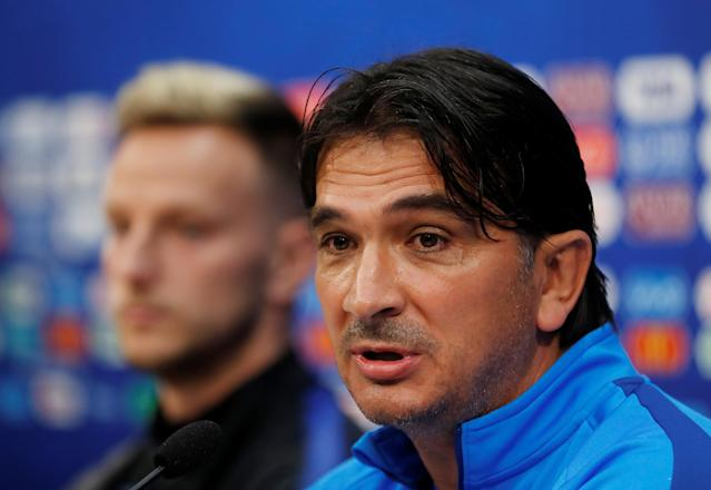 Soccer Football - World Cup - Croatia Press Conference - Nizhny Novgorod Stadium, Nizhny Novgorod, Russia - June 20, 2018 Croatia coach Zlatko Dalic and Ivan Rakitic during the press conference REUTERS/Carlos Barria