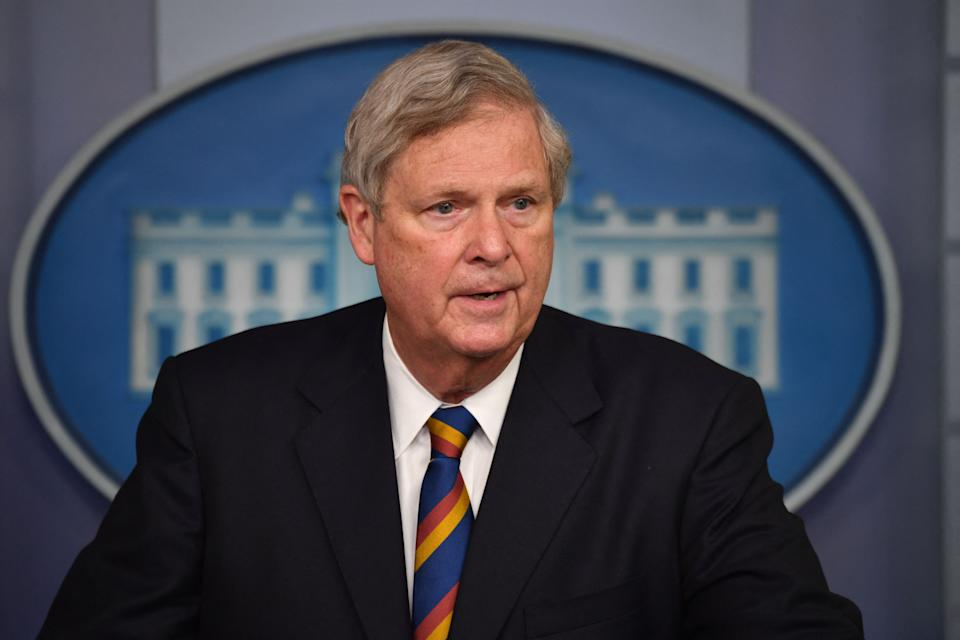 Agriculture Secretary Tom Vilsack holds a press briefing in the Brady Briefing Room of the White House in Washington, DC. on May 5, 2021. (Photo by Nicholas Kamm / AFP) (Photo by NICHOLAS KAMM/AFP via Getty Images)
