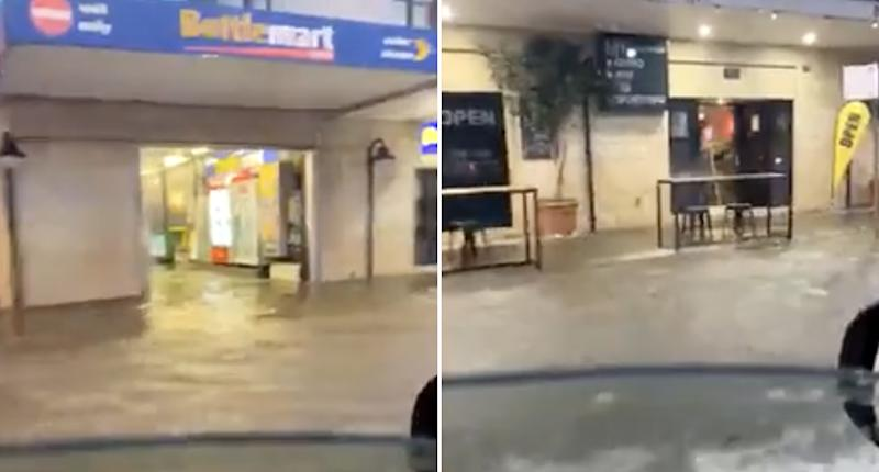 A flooded pub and bottleshop seen in Newcastle's suburb of Mayfield.