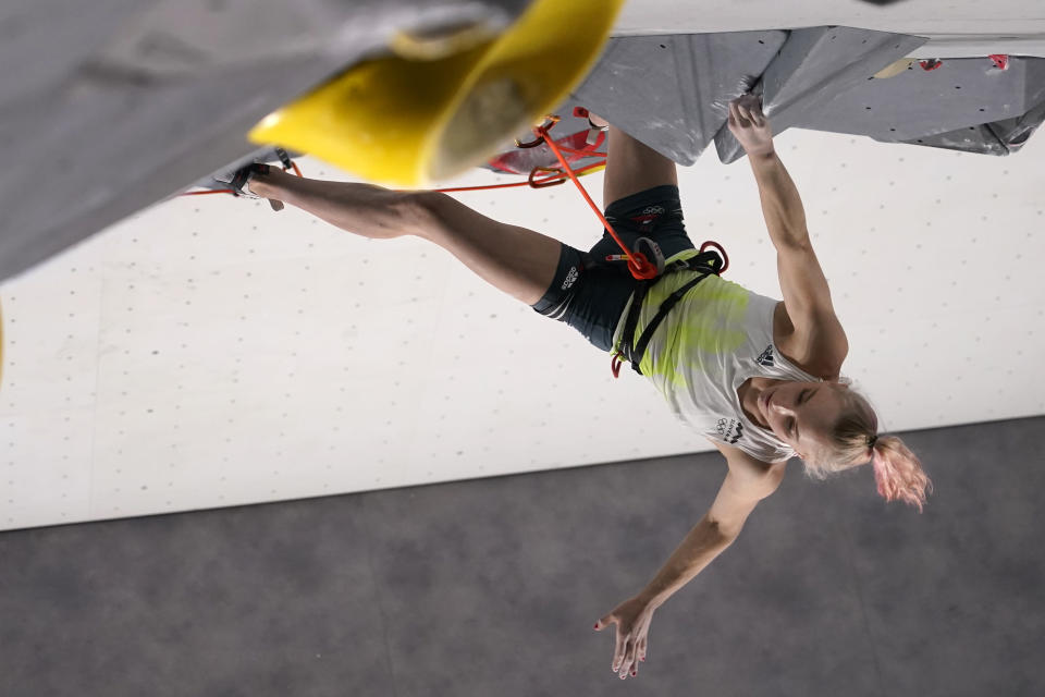Janja Garnbret, of Slovenia, climbs during the lead qualification portion of the women's sport climbing competition at the 2020 Summer Olympics, Wednesday, Aug. 4, 2021, in Tokyo, Japan. (AP Photo/Jeff Roberson, POOL)