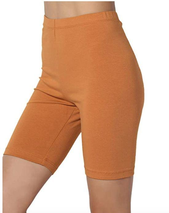 "<a href=""https://amzn.to/33GpYkG"" rel=""nofollow noopener"" target=""_blank"" data-ylk=""slk:These bike shorts"" class=""link rapid-noclick-resp"">These bike shorts</a> are made with 95% Cotton and 5% Spandex, making them good bike shorts to wear under dresses and skirts to prevent thigh chafing. They also feature a thin waistband and are available in <a href=""https://amzn.to/33GpYkG"" rel=""nofollow noopener"" target=""_blank"" data-ylk=""slk:more than 30 colors"" class=""link rapid-noclick-resp"">more than 30 colors</a>. <br><strong>Sizes</strong>: S to 3X<br><strong>Rating</strong>: 4-star rating<br><strong>Reviews</strong>: more than 4,000 <br><br><a href=""https://amzn.to/33GpYkG"" rel=""nofollow noopener"" target=""_blank"" data-ylk=""slk:Find them for $14 on Amazon."" class=""link rapid-noclick-resp"">Find them for $14 on Amazon.</a>"