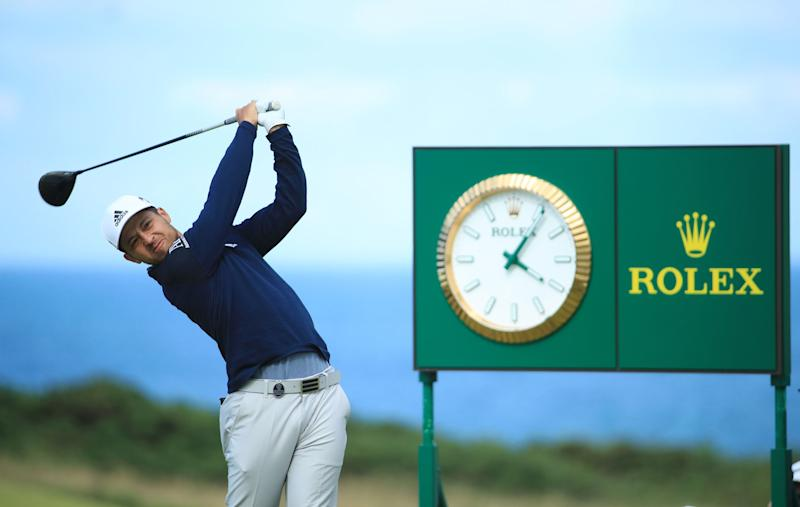 Xander Schauffele hits a drive from the 11th tee during the third round of the 2019 Open Championship.