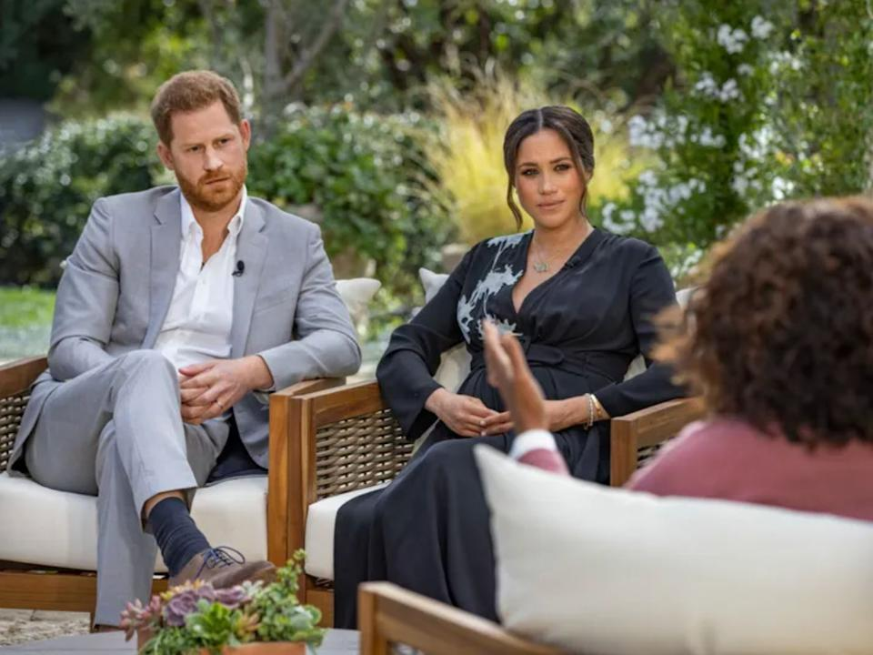 Prince Harry and Meghan Markle during their interview with Oprah Winfrey. (Photo: Joe Pugliese / CBS)
