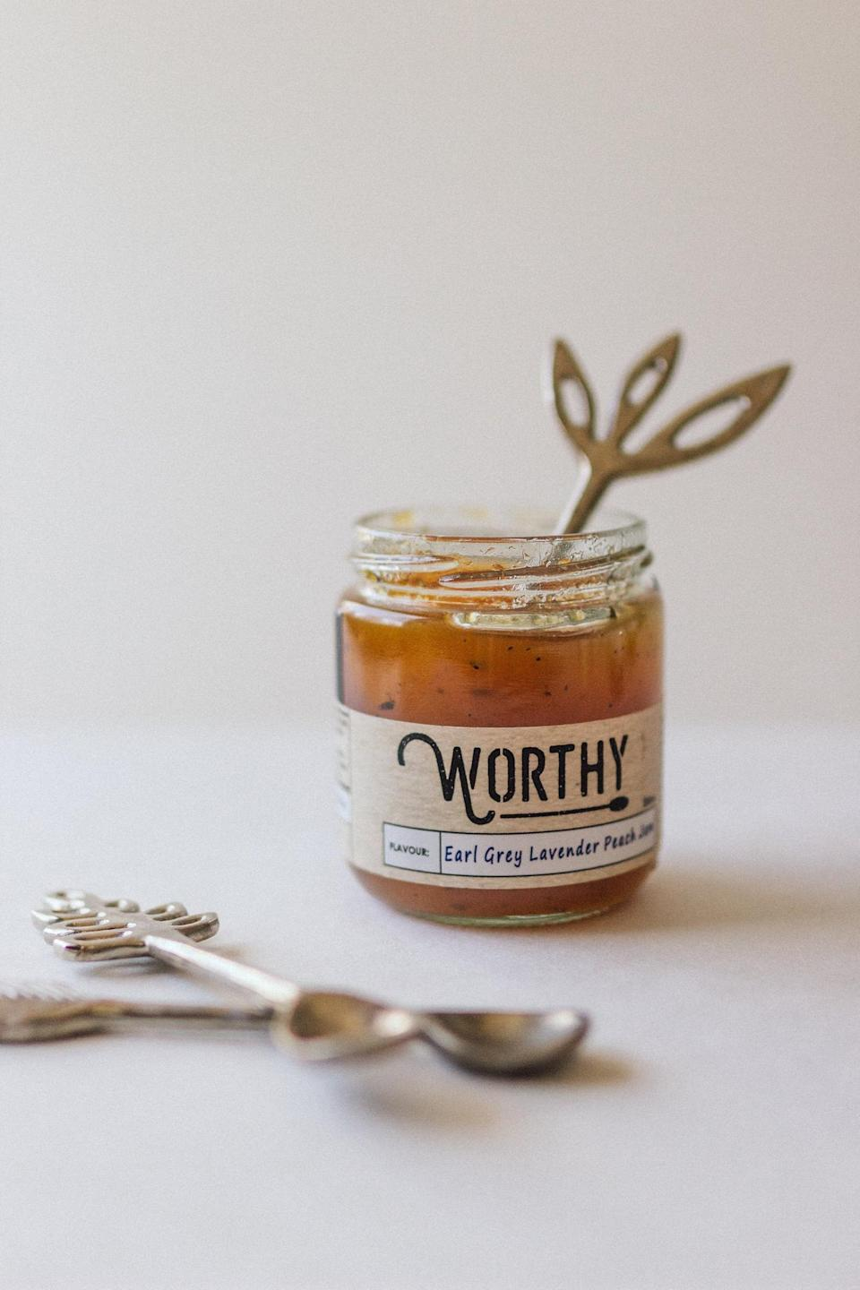 <p>Nothing makes a sweeter gift than a fresh batch of handmade <span>Worthy Earl Grey Lavender Peach Jam</span> ($6).</p>