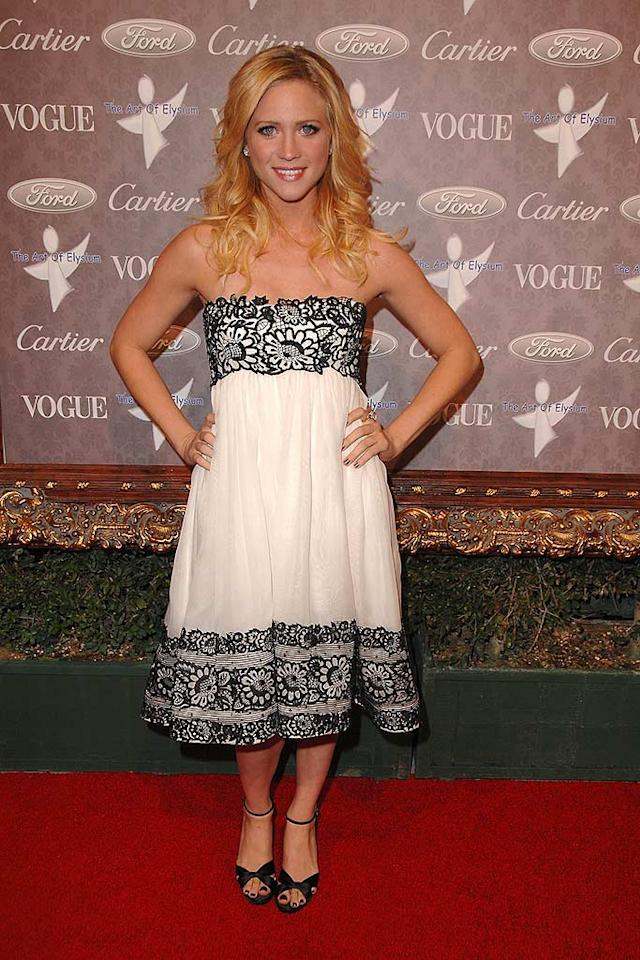 "Brittany Snow's strapless cocktail dress is a tad matronly for our tastes. Steve Granitz/<a href=""http://www.wireimage.com"" target=""new"">WireImage.com</a> - January 12, 2008"