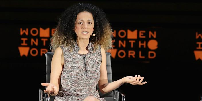 Masih Alinejad speak onstage at My Stealthy Freedom during Tina Brown's 7th Annual Women In The World Summit in 2016
