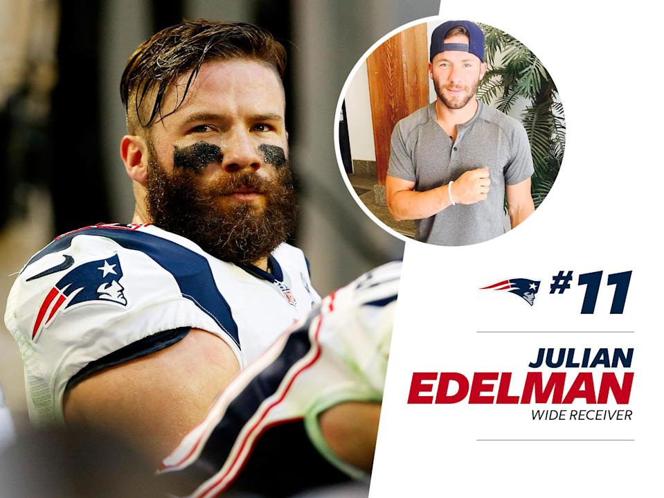"""<p>Julian Edelman is a fashion world darling, according to <a href=""""http://www.vogue.com/13353056/julian-edelman-new-england-patriots-nfl-style/"""" rel=""""nofollow noopener"""" target=""""_blank"""" data-ylk=""""slk:Vogue"""" class=""""link rapid-noclick-resp""""><em>Vogue</em></a>. The Pats wide receiver opts for streetwear brands like Kith and Public School, and acts as a spokesperson for Puma. </p>"""