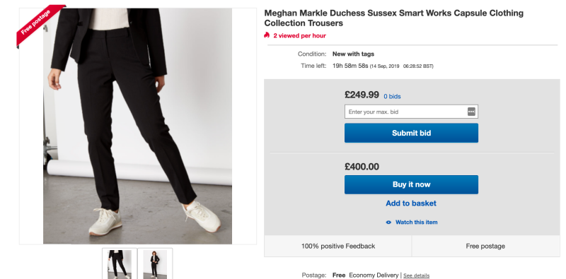Meghan Markle's Jigsaw trousers are being sold for $720 on eBay Photo: eBay