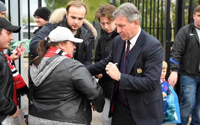 <span>Bryan Robson arrives at Old Trafford</span> <span>Credit: Laurence Griffiths/Getty Images </span>