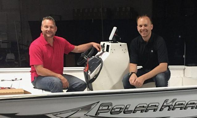 Nathan Scherer, owner of SEI Manufacturing, right, with Andy Cripe, owner of Polar Kraft Boats. Both Indiana companies are struggling to find needed workers.