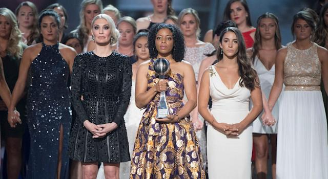 To fully demonstrate the systematic failures at USA Gymnastics and the damages of Nassar's abuse is impossible. But the ESPY's painted an illuminating picture. (Getty)