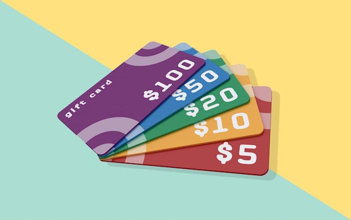 An image of gift cards on a colorful background.