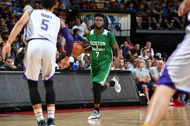 """<a class=""""link rapid-noclick-resp"""" href=""""/nba/players/5602/"""" data-ylk=""""slk:Jaylen Brown"""">Jaylen Brown</a> is hosting a party for a bunch of underage NBA players at summer league. (Getty)"""