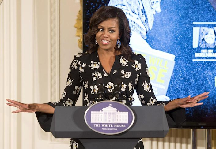 First lady Michelle Obama speaks while hosting a special screening with the U.S. Department of State's Office of Global Women's Issues, of the new CNN Film We Will Rise: Michelle Obama's Mission to Educate Girls Around the World, at the White House in Washington, Oct. 11, 2016. (Photo: Molly Riley/AP)