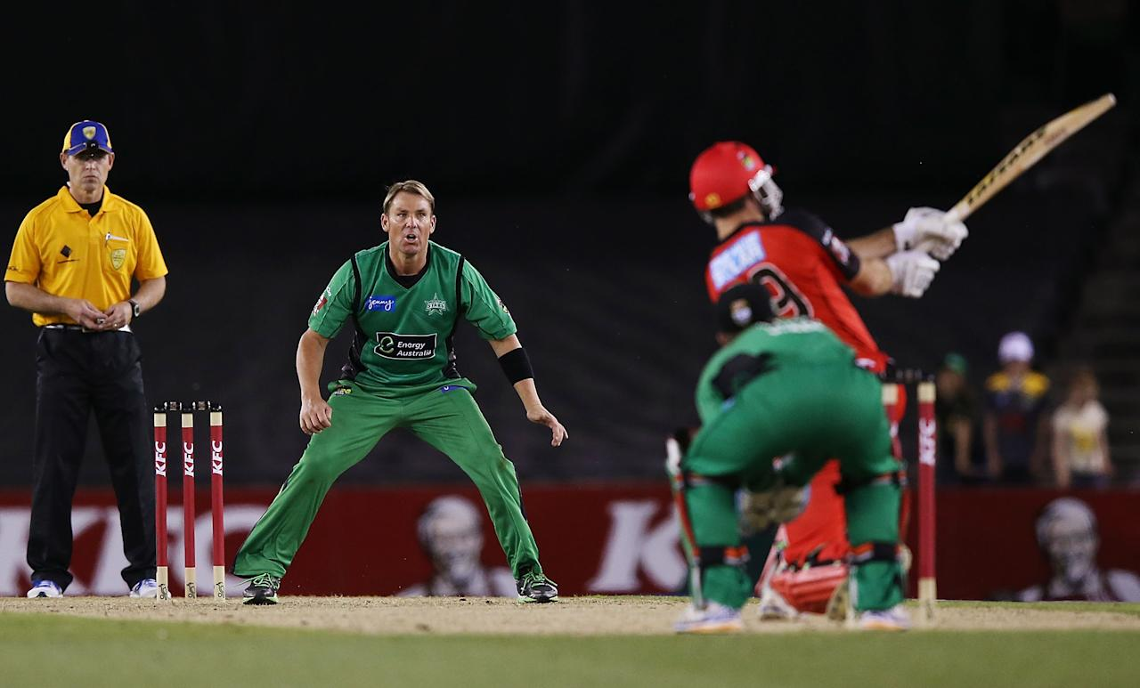 MELBOURNE, AUSTRALIA - DECEMBER 07:  Shane Warne of The Stars reacts when being hit for six by Ben Rohrer of The Renegades during the Big Bash League match between the Melbourne Renegades and the Melbourne Stars at Etihad Stadium on December 7, 2012 in Melbourne, Australia.  (Photo by Michael Dodge/Getty Images)
