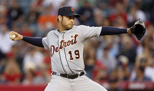 Detroit Tigers starting pitcher Anibal Sanchez (19) throws against the Los Angeles Angels in the first inning during a baseball game Friday, April 19, 2013, in Anaheim. (AP Photo/Alex Gallardo)