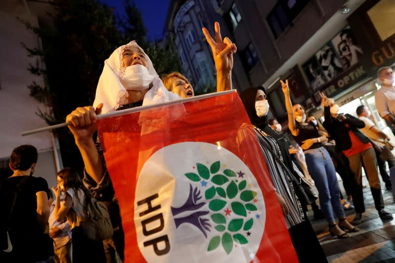 FILE PHOTO: Pro-Kurdish HDP supporters shout slogans during a protest in Istanbul