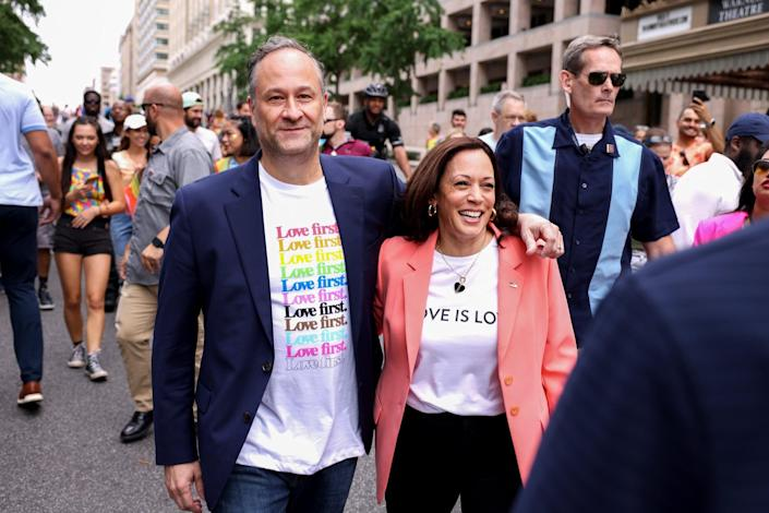 Kamala Harris Attends a Pride Parade With Doug Emhoff, and Makes History in the Process