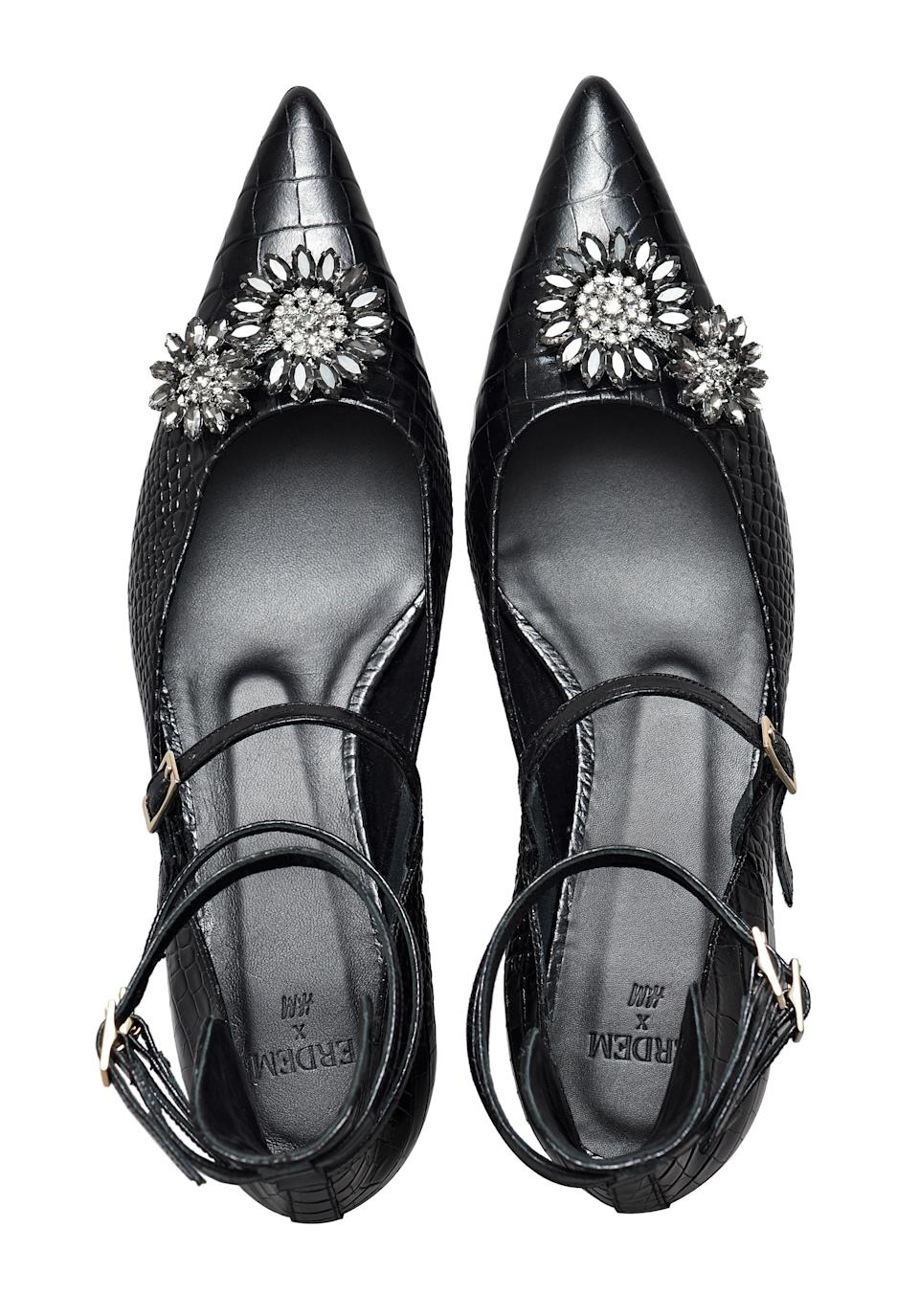 """<p>What better way to welcome the festive season than with some bejewelled footwear? We'll be teaming ours with everything from Erdem's floral ballgown skirt to the hoodie. <em><a rel=""""nofollow noopener"""" href=""""http://www2.hm.com/en_gb/index.html"""" target=""""_blank"""" data-ylk=""""slk:H&M"""" class=""""link rapid-noclick-resp"""">H&M</a>, £139.99</em> </p>"""