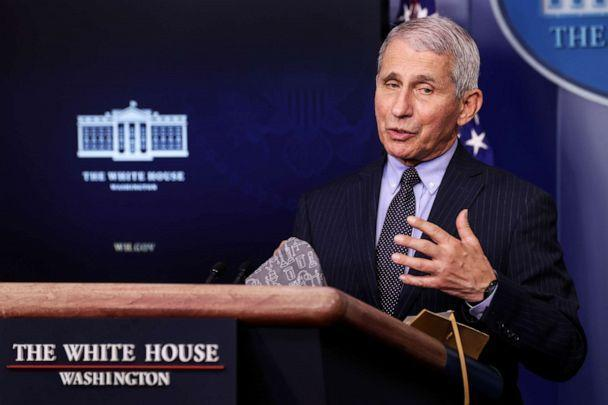 National Institute of Allergy and Infectious Diseases Director Dr. Anthony Fauci addresses reporters at the White House on Jan. 21, 2021. (Jonathan Ernst/Reuters)
